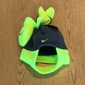 Nine infant neon green 2 piece beanie and mittens